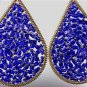 CHIC Sapphire Blue Peruvian Crystals Beads Gold Metal Chandelier Dangle Earrings