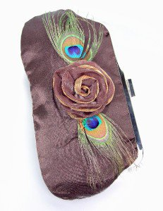 Silky Brown Satin Flower Peacock Feathers Clutch Evening Purse Bag