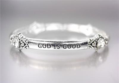 INSPIRATIONAL Thin Silver GOD IS GOOD ALL THE TIME Crystals Stretch Bracelet