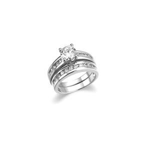 CLASSIC 2.5 CT Round Cut CZ 18kt White Gold Plated 2 PC Engagement Wedding Rings