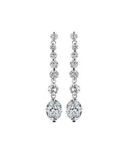 STUNNING 18kt White Gold Plated Oval Drop 2.25 CT CZ Crystal Dangle Earrings