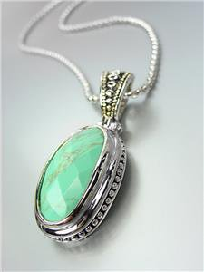 GORGEOUS Faceted Turquoise Stone Silver Dots Scallop Pendant Chain Necklace