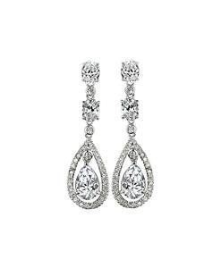 STUNNING 18kt White Gold Plated Tear Drop Pear 2.5 CT CZ Crystal Dangle Earrings
