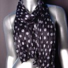 Silky Lightweight Classic Black Off White Polka Dots Crinkled Gathered Scarf