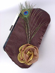 Chic Brown Satin Flower Bouquet Peacock Feather Clutch Evening Purse Bag