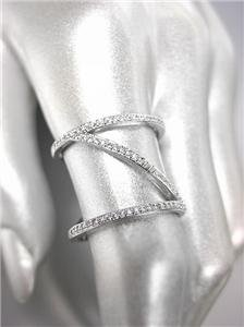 CHIC & UNIQUE Thin 18kt White Gold Plated CZ Crystals Zig Zag Z Wide Ring