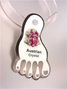 ADORABLE Sparkle Pink Austrian Crystals FROG Invisible PETITE Toe Ring