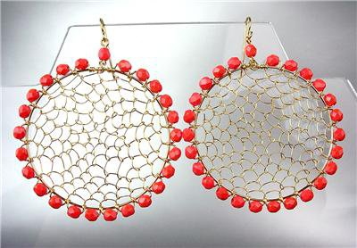 CHIC Coral Crystal Beads Gold Honeycomb Mesh Wire Chandelier Peruvian Earrings