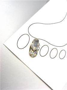ADORABLE Iridescent AB Crystals FLIP FLOP Silver Invisible PETITE Toe Ring