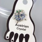 ADORABLE Blue Austrian Crystal LADYBUG Lady Bug Invisible PETITE Toe Ring