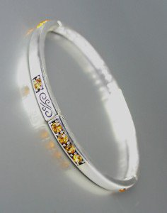 NEW Brighton Bay Silver Filigree Brown Topaz CZ Crystals Stretch Bracelet #39
