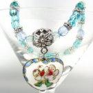 Vintage White Multi Floral Cloisonne Enamel Heart Charm Beads Stretch Bracelet
