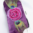 Silky Purple Satin Flower Peacock Feathers Clutch Evening Purse Bag