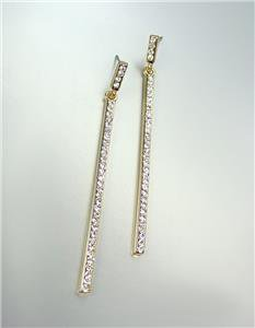CHIC & SEXY Thin Gold Plated CZ Crystals Stick Long Dangle Earrings