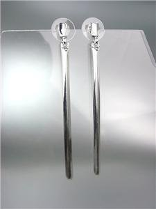 "CHIC UNIQUE & SEXY Thin Silver Plated Beveled Bar 3"" Long Dangle Earrings"