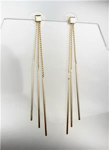 CHIC & SEXY Urban Anthropologie 3 Gold Chain Graduated Stick Dangle Earrings