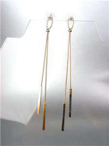 CHIC & SEXY Gold Mesh Metal Chains Bars Long Shoulder Duster Dangle Earrings