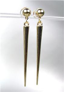 CHIC & SEXY Basketball Wives Style GOLD Metal SPIKE Long Dangle Post Earrings