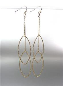 """CHIC & SEXY Lightweight Gold Plated Ovals on Chain 4 1/2"""" Long Dangle Earrings"""