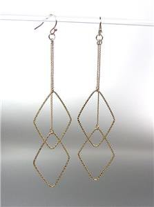 "CHIC SEXY Lightweight Gold Plated Diamond on Chain 4 1/4"" Long Dangle Earrings"