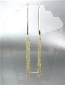 CHIC & SEXY Extra Long Gold Metal Bar Chains Crystal Shoulder Duster Earrings