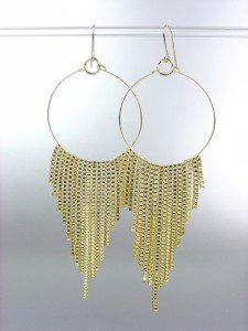 Sexy Basketball Wives Style Gold Metal Box Chains Ring Dangle Earrings