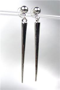CHIC & SEXY Basketball Wives Style SILVER Metal SPIKE Long Dangle Post Earrings