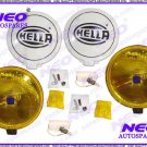 Pair Of Hella Comet 500 Yellow Driving Lamp 12V H3 Fits For Jeep, Trucks