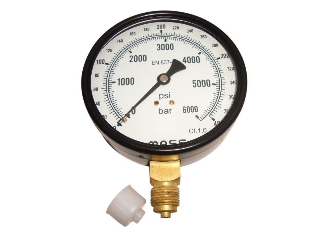 """Pressure Gauge - Dual Scale 0 - 400 Bar & 0 - 6000 Psi - 3/8"""" Bsp - 100 Mm Dial"""