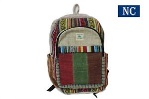 Striped Hemp and Colorful Cotton Backpack Handmade Nepal with Laptop Sleeve