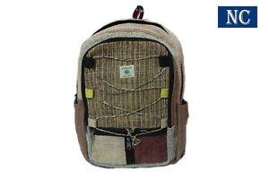 Pure Hemp Multi Pocket Backpack Handmade Nepal with Laptop Sleeve, Shoulder Bag