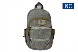Pure Hemp Natural Light Greay Color Backpack Handmade Nepal with Laptop Sleeve