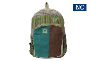 Pure Hemp Stripe Handmade Himlayan Backpack ( THC FREE) with Laptop Sleeve Bag