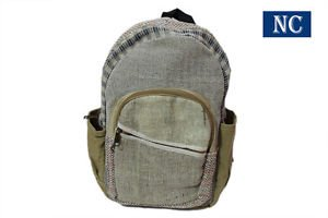 100% Hemp Natural Color Backpack Handmade Nepal with Laptop Sleeve - School Bag
