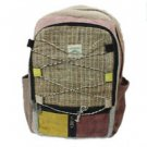 Nepali Pure Hemp Multi Pocket Canvas Backpack with Laptop Sleeve - Bookbags