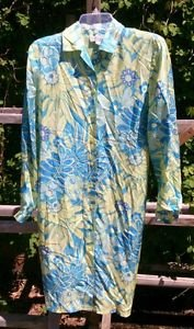 Bob Mackie Studio designer Silk Shirt Shift dress womens size 4 floral blue L/S