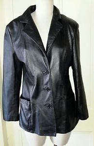 Vintage 80s Wilsons Leather Black Blazer Style Jacket Car Coat womens M 1985