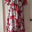 Womens MD Fashion Hawaiian Sundress muu muu size large 100% Cotton USA Red white