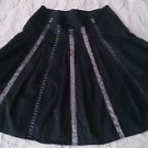 Esprit 100% cotton lined Skirt a-line full Womens size 6 black silver striped