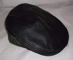 Vintage Men's Harley-Davidson Logo Black Leather Nostalgic Ivy Newsboy Cap Hat M