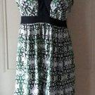 Trulli Tie Back side zip Silky Halter Summer Dress womens size 8 Green Black