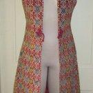 Vintage 70s Hook & Loop Maxi Tapestry Kilim Carpet Rug Vest Coat Boho Festival 9
