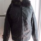 Vintage 3-in-1 Mouton Fur Zip Out Vest Black Leather Bomber Motorcycle Jacket M
