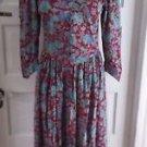 Vintage 70's Jane Schaffhausen Belle France Floral Midi Modest Dress Womens 10
