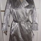Womens Andrew Marc Faux Leather Silver Metallic Belted Snap Trench Spy Coat M