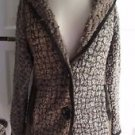 Womens S Curio New York Boucle Wool Colorblock Patchwork Knit Sweater Jacket