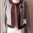 NWT $295 Andrea Becker Athena Short Blazer wrap Jacket Velvet Trim Womens size 8