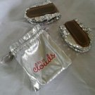 Fits in Clouds Womens Foldable Silver Sequin Ballet Flats size small + Bag