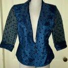 Alex Evenings Sheer Polka Dot 3/4 Sleeve Jacket Blazer Womens size Medium Formal