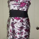Jones Wear Ruffled Hot Pink Floral Hawaiian Style Sheath Dress Womens size 8